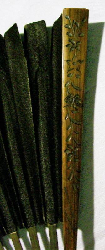 Antique Handheld Fan Black Silk & Carved Bamboo