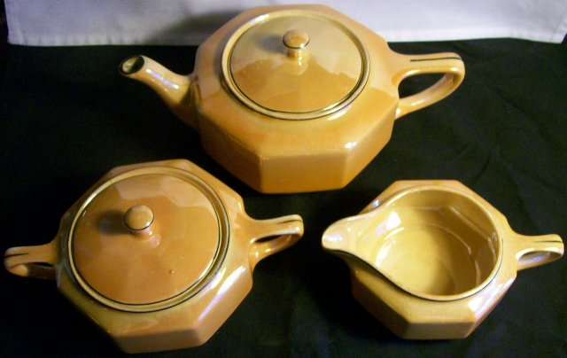 Vintage Steubenville Luster Tea Set Art Deco Orange Luster Octagon