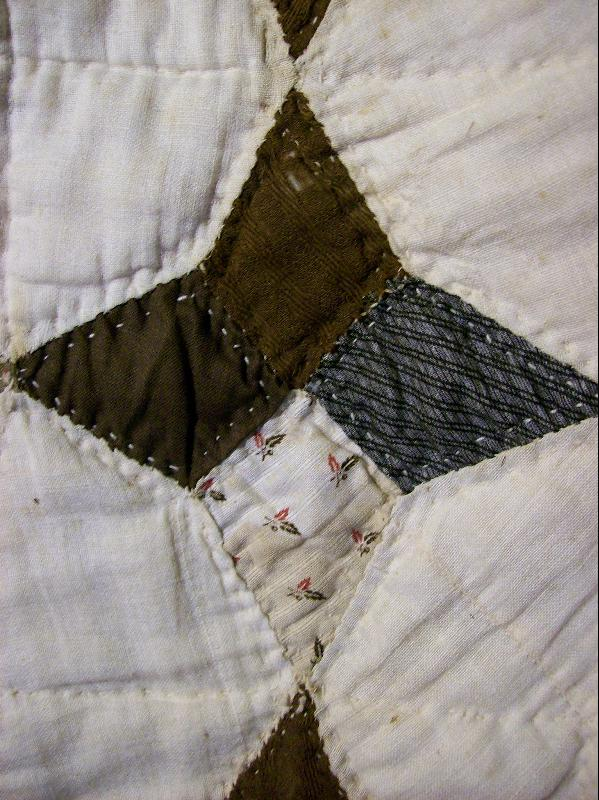 Antique Handsewn Quilt 4-Point Star 1800's Cotton/Wool 64 X 84