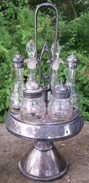 Antique Rogers & Brothers Silverplated Castor/Cruet Set Victorian 6 Bottles