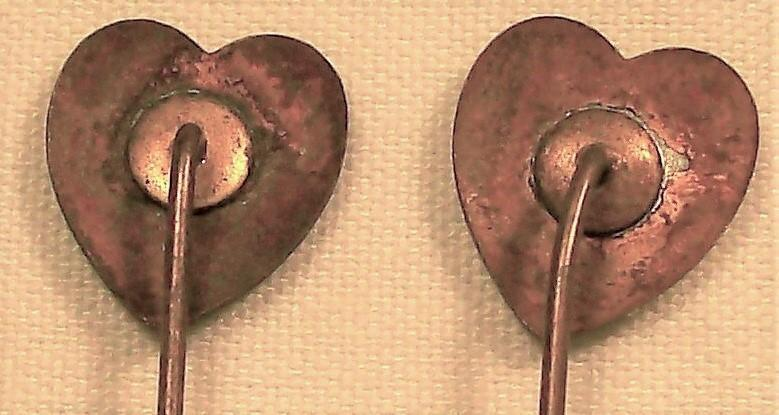 Antique 1800s Scarf/Stick Pin Pair Gold-Filled Enameled Hearts Green & White