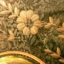 Vintage Imperial Molly Yellow Two-Handled Plate Cut Floral Decagon #725