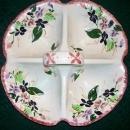 Vintage Blue Ridge Violets 4-Part Relish Dish Southern Potteries Ca. 1945