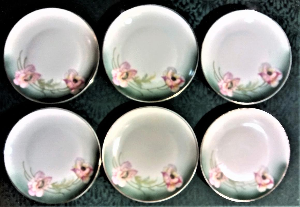 Antique Kloster Vessra German Plate Set/6  Pink Poppies