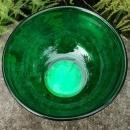 Vintage Hocking Fire-King Forest Green Bowl w/Metal Base HTF