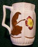 Antique English Majolica Pitcher/Creamer 1886 Flower & Leaf 4 7/8