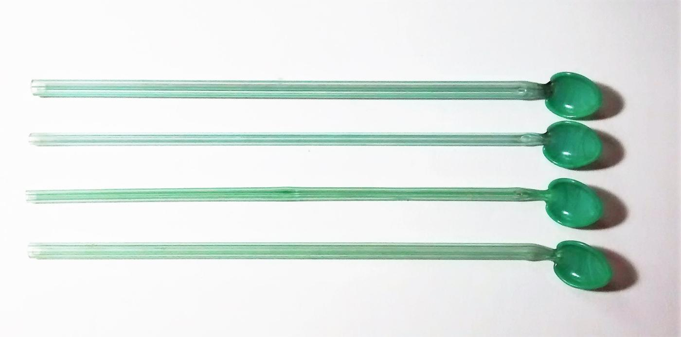 Vintage Jadeite Green Sipper Spoon/Straw Set/4 Barware