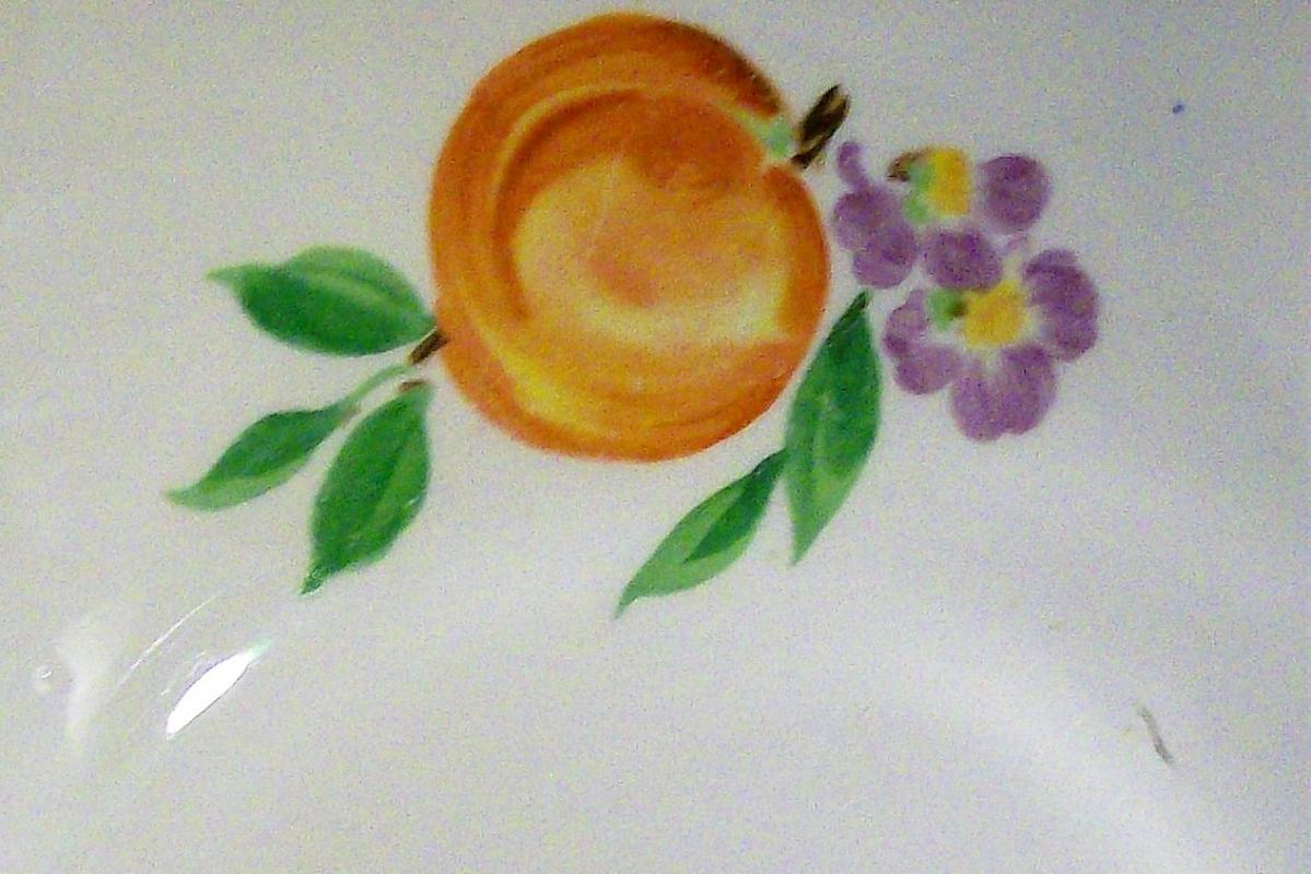 Vintage Pottery Guild/Cronin/Block Peach Pattern Salad Bowl  30s-40s Red Stripe 10.75