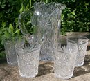 Antique Libbey Cut Glass Pitcher & Tumbler Set