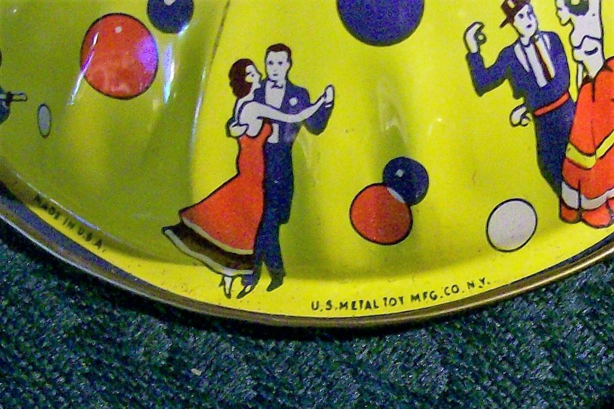 Vintage Tin Noise-Maker Set /3 U.S. Metal Toy 1950's Holiday Party
