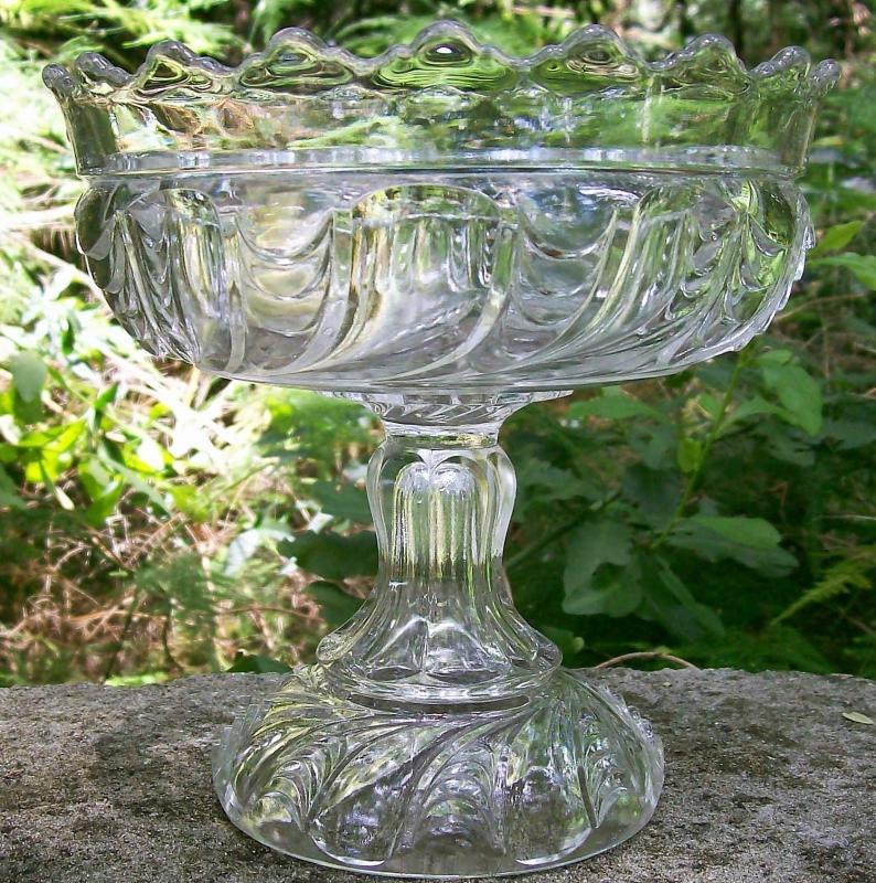 Antique Scalloped Swirl/York Herringbone Comport EAPG Clear 6.25