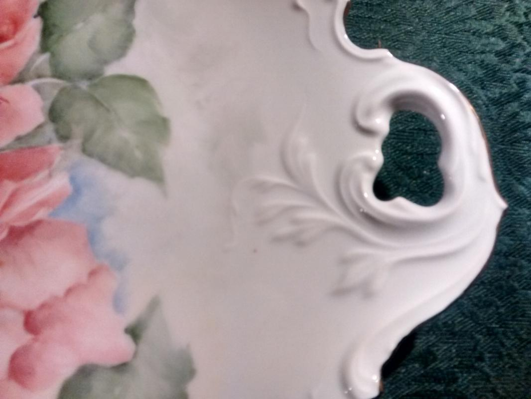 Antique Hand-Painted Rose Cake Plate Large Pink Flowers Early 1900s