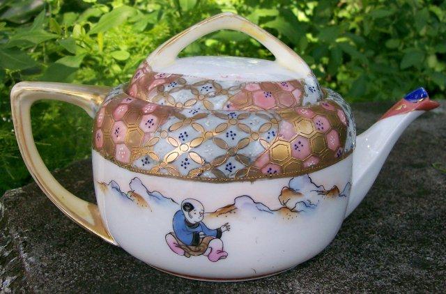 Antique Royal Kaga Nippon Teapot Woman & Boy Figures
