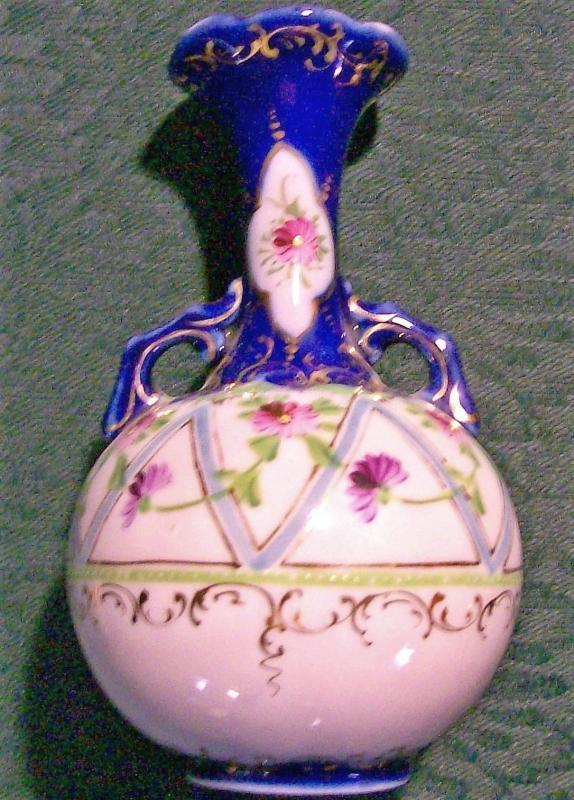 Antique Nippon/Japan Bottle Vase Cobalt Blue/Light Blue Zig-Zag 5.5