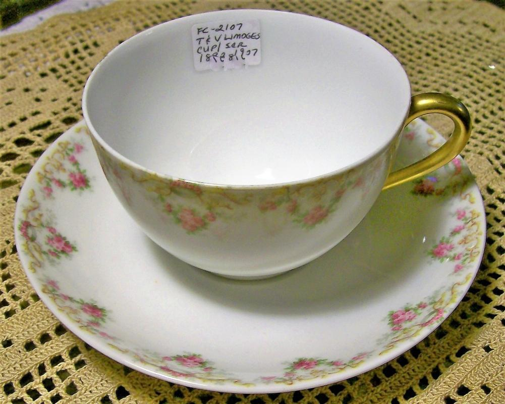 Antique T&V Limoges Cup/Saucer Pair #4290 Pink Roses 1892-1907