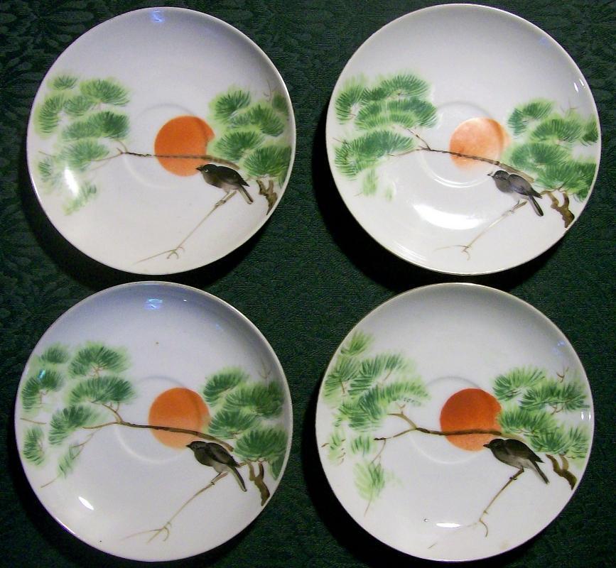 Antique Nagoya Seito Sho Nippon HP Saucer Set/4 with Bird/Orange Sun