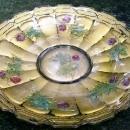 Antique Lancaster Panelled Oak Plate Goofus Glass 11.25