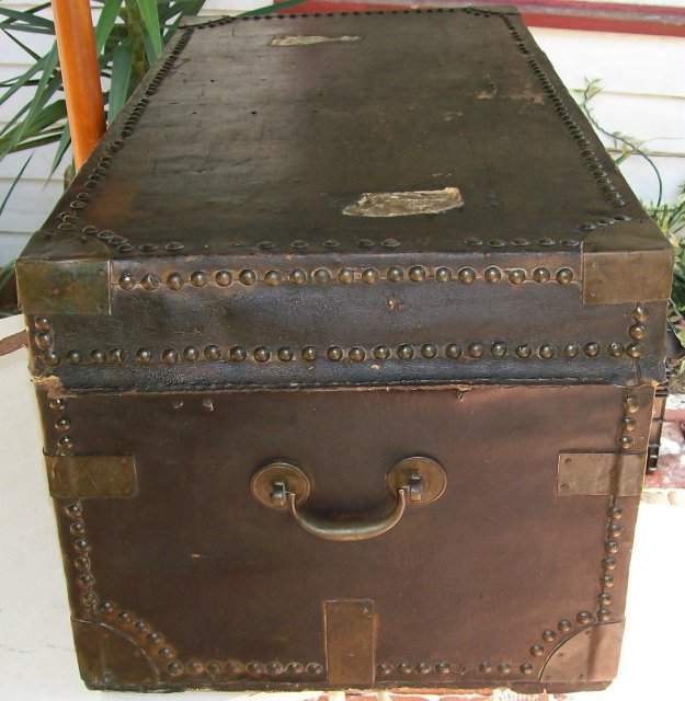 Antique Chinese Export Trunk with Bramah Lock Early 1800's Camphor Wood/Leather As Is
