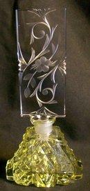 Vintage Czechoslovakian Cut Glass Perfume w/ Stopper Irice Yellow 7
