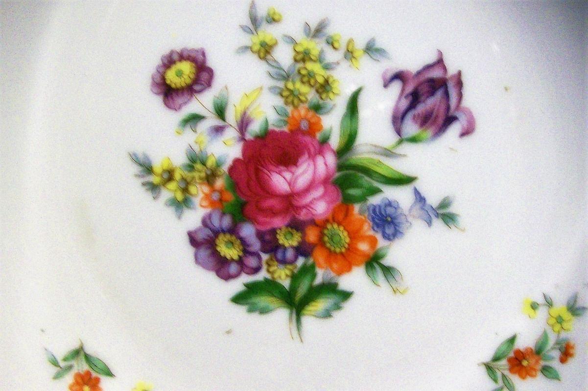 Vintage Occupied Japan Serving Bowl Dresden-Style Florals 9