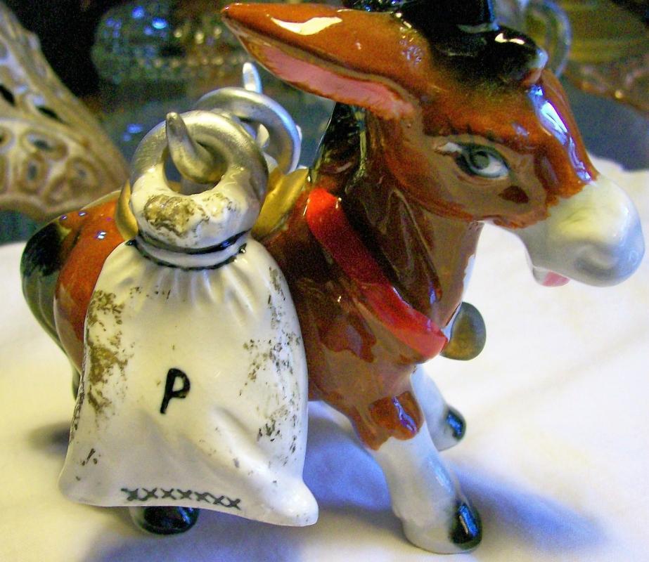Vintage Donkey Salt & Pepper Carrier w/Sack Shakers 1950's Japan