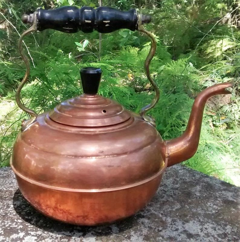 Antique Copper Kettle Gooseneck w/Brass Handle England Early 1900s