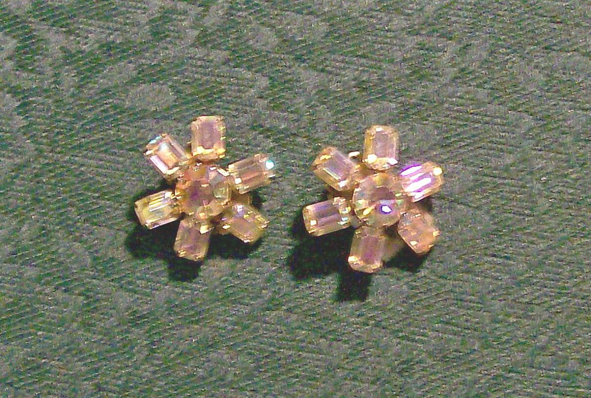 Vintage Weiss Aurora Borealis Earrings Ca. 1950s Signed