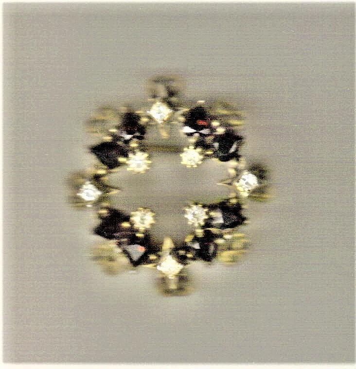 Vintage Faux Ruby/Rhinestone Circle Pin 1940's 1.5