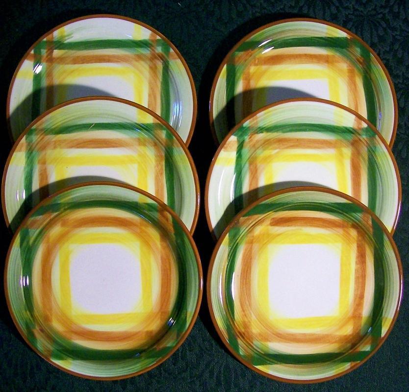 Vintage Vernon Homespun Plate Set/6 Bread & Butter 6 3/8