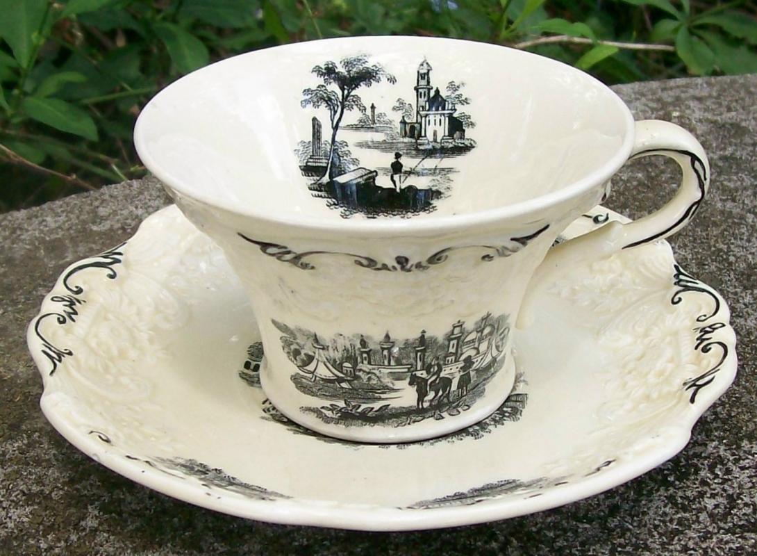 Vintage Cyrene Cup/Saucer George Jones & Sons Eng B/W 1929 JON54