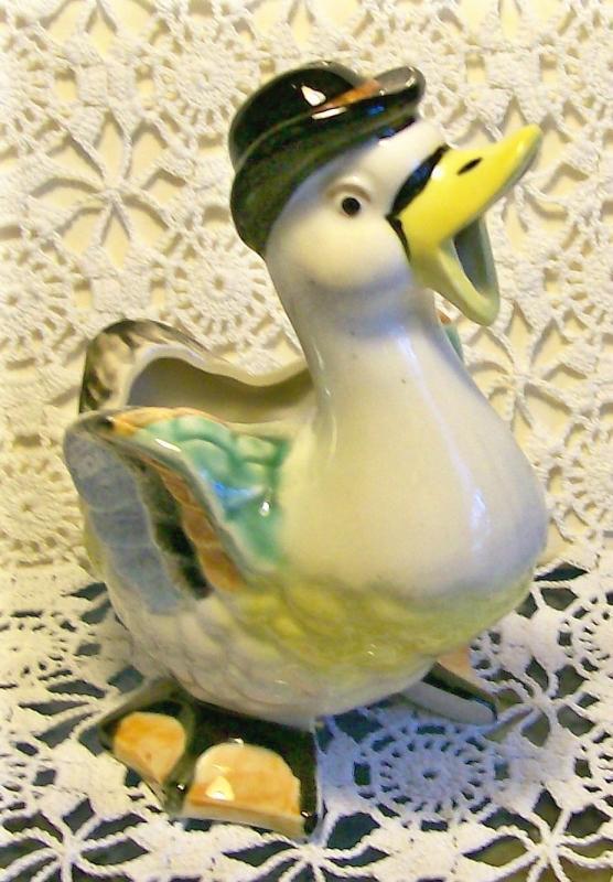 Vintage Figural Duck Cream Pitcher 1930s Anthropomorphic