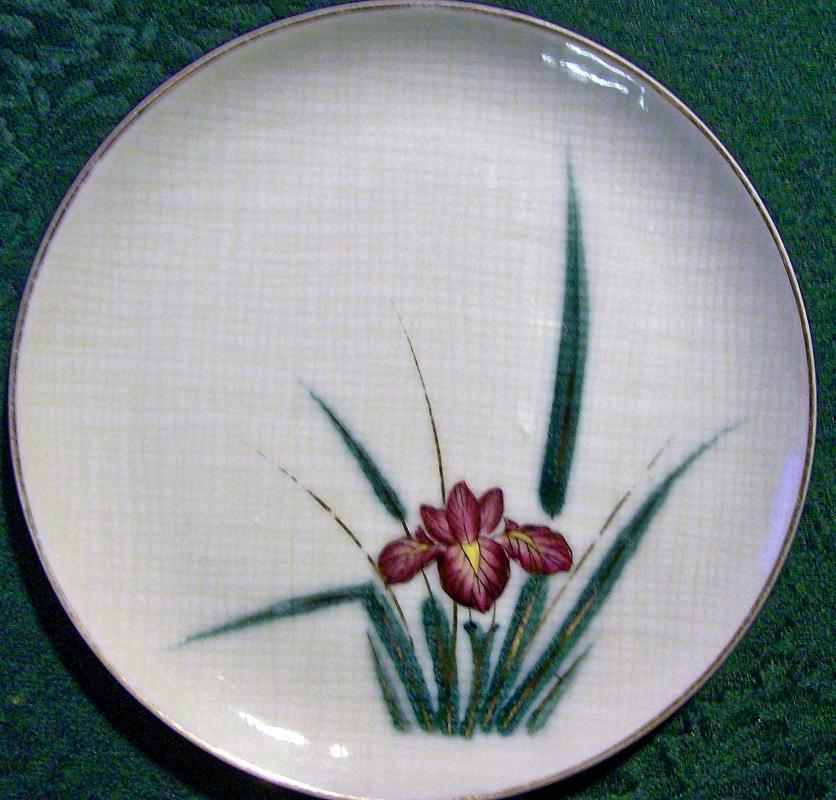 Vintage Kutani Iris Plate Set/6 1950s Purple Flower 6.5