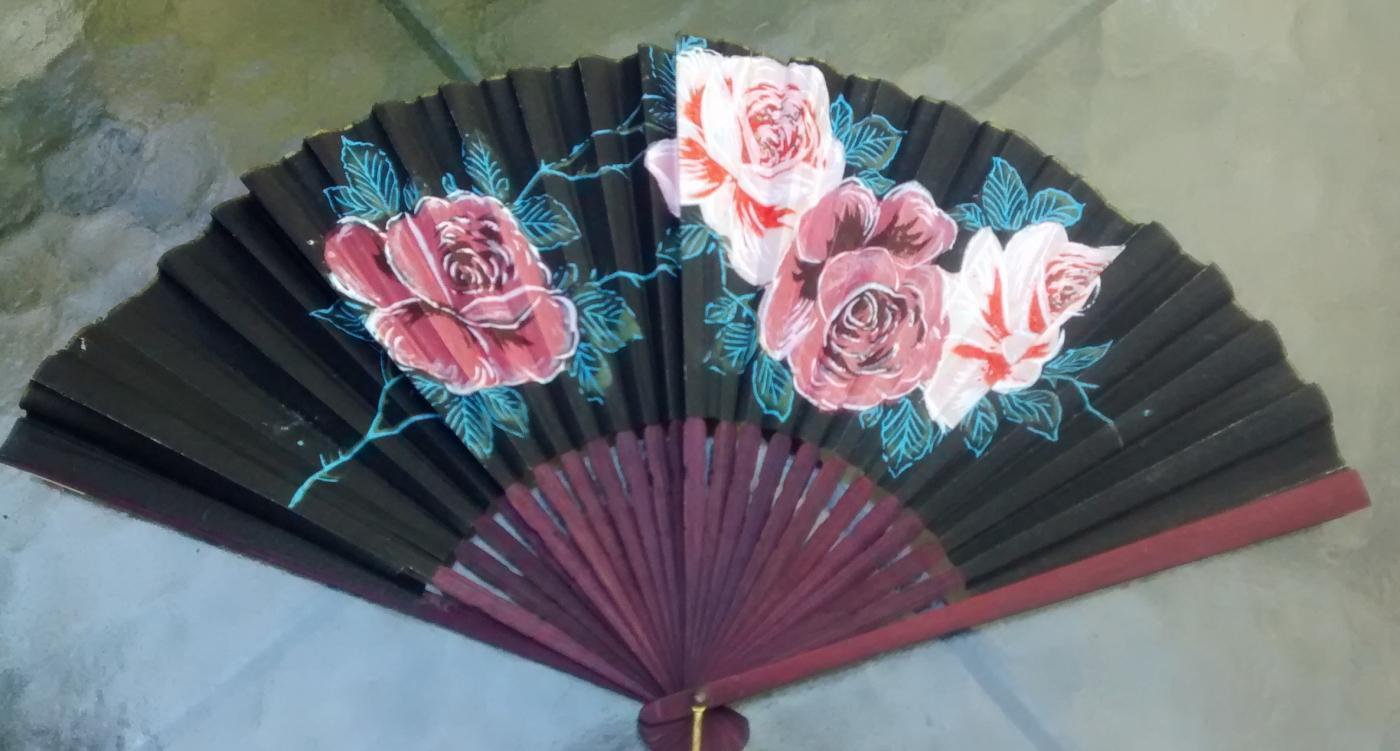 Vintage Hand-Held Paper Fan Roses Bamboo Frame 1930's Japan