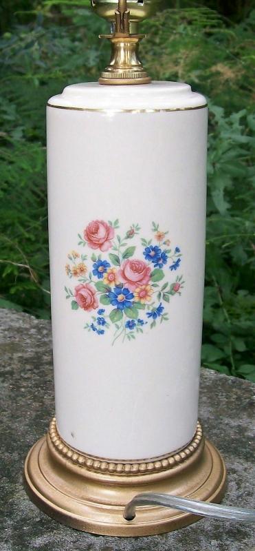 Vintage Spaulding China Electric Lamp 1940s Multicolor Floral Column