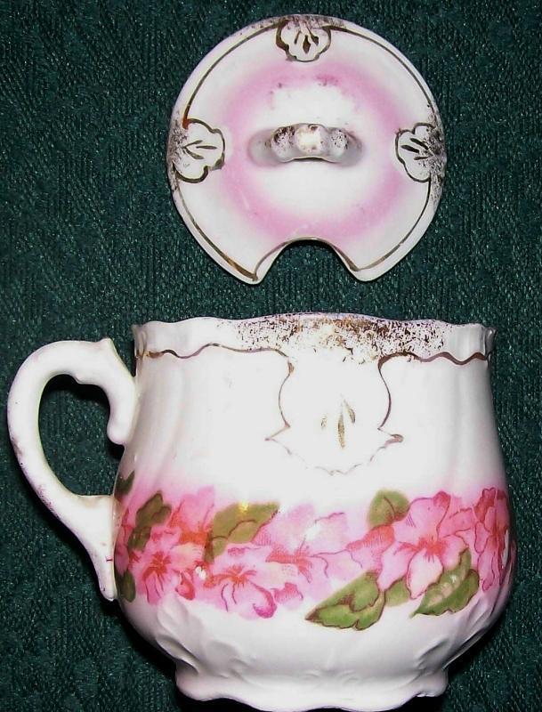 Antique Mustard Pot w/Lid Pink Florals/Gold Trim Ca. 1900