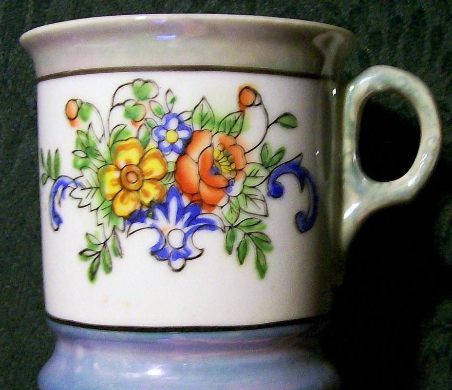 Antique Shaving Mug Blue/Green Luster & Floral Early 1900's 3.75