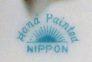 Antique Noritake Nippon Tea Tile/Trivet Pink & Red Roses Brown Trim