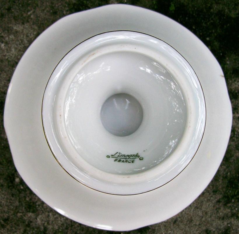 Antique Limoges Pedestal Bowl Gold Floral 3.25