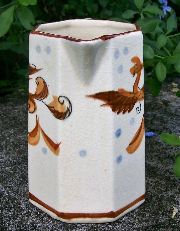 Vintage Japan Dragon/Phoenix Bird Pitcher Hand-Painted Octagon 6