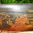 Antique Lacquer Ware Wooden Nut Bowl w/Mallet Early 1900's Japan