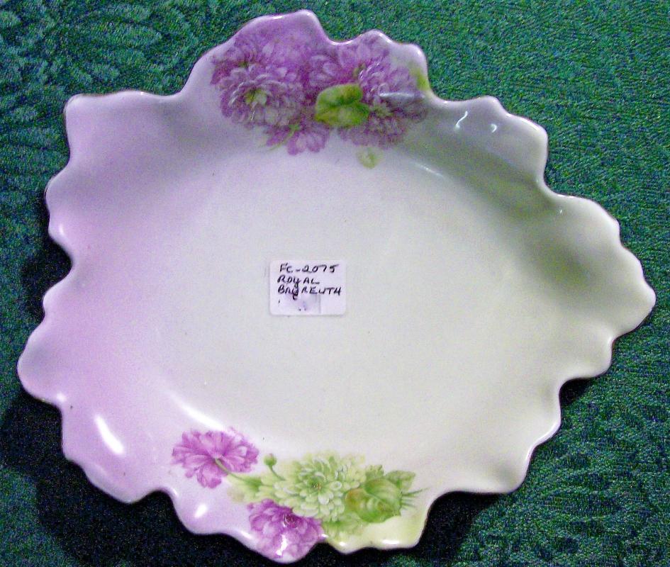 Antique Royal Bayreuth Leaf Dish Green/Lavender Florals P.T. Germany