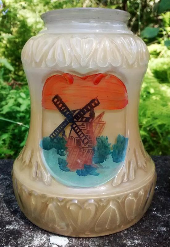 Vintage Windmill Light/Lamp/Fixture Shade Heart Embossing 1930s