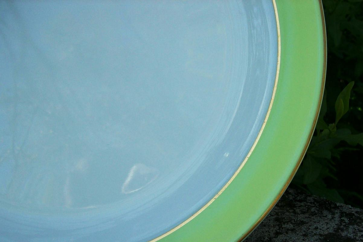 Vintage Pyrex Lime-Green Band Chop Plate 12 3/8