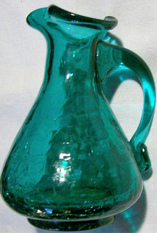 Vintage MCM Crackle Glass Pitcher Teal Green 4.25
