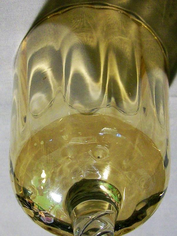 Vintage Carnival Glass Goblet Airtwist Stem Amber/Gold 8