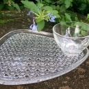 Vintage Anchor Hocking Triangle Snack Set 8 Pc Daisy & Button Clear Glass 1960s