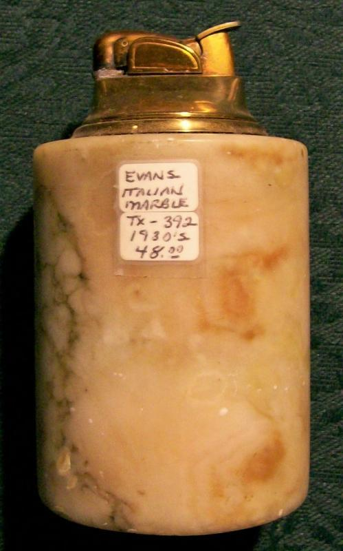 Vintage Evans Table Lighter Italian Marble 1930s NO SPARK AS IS 4.25