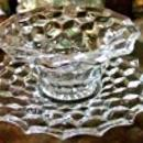Vintage Fostoria American Mayonnaise Bowl w/Underplate Clear Glass 1950s