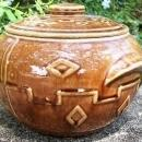 Vintage Monmouth/Western Bean Pot Diamond Pattern Brown Glaze 1930s