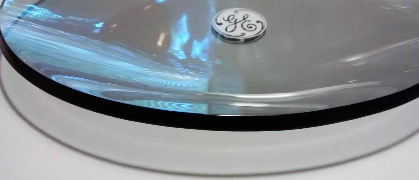 Vintage General Electric Advertising Tray 1960s-70s Bent Smoke Glass